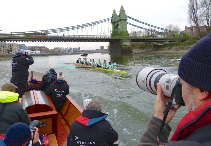 The press launch during Tideway Week, 24 March 2016, where Canon takes preference over copy. Sadly, most of the thousands of digital images taken on each outing will never be seen.