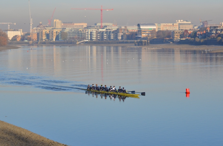 "Both men's boats had an early outing before the women's race (which went off first). Here ""Daniel"", coxed by Victoria Warner and stroked by Vassilis Ragoussis, finds the Tideway at its most beguine. Full crew lists are on the official website, http://theboatraces.org/news-article/288/crews-announced-for-oxford-trial-eights as are the OUBC Squad biographies. http://theboatraces.org/oubc"