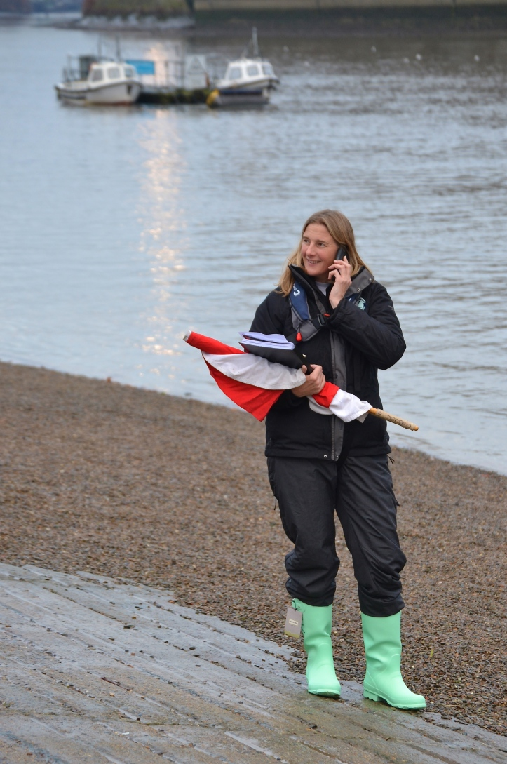Sarah Winckless, the fifth woman to become a Henley Steward and the first to umpire at the regatta, here seen on Putney Embankment.