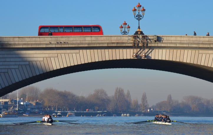 "Under Putney Road Bridge. On the left, ""Heather"" was on Surrey, and on the right, ""Helen"" was on Middlesex."