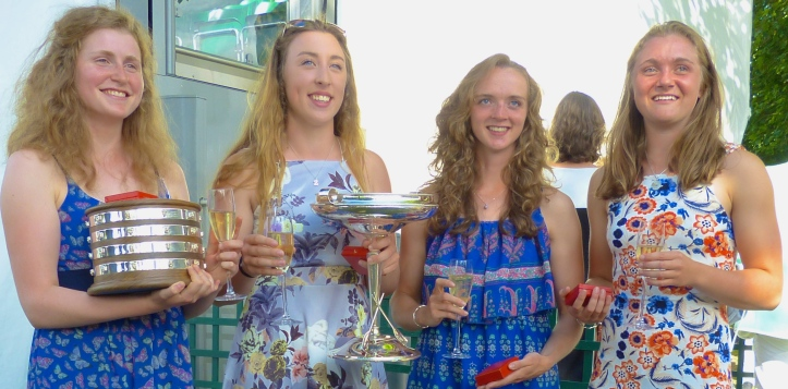 Gloucester Hartpury/Gloucester Rowing Club, winners of the Diamond Jubilee Challenge Cup for three years in a row. This is the 2016 crew.