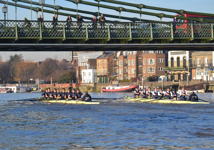 "By Hammersmith Bridge, ""Daniel"" (left) had taken a small lead in a move that started just after Harrods. At the bridge there was a slight clash of blades and perhaps ""Acer"" came off worst from this."