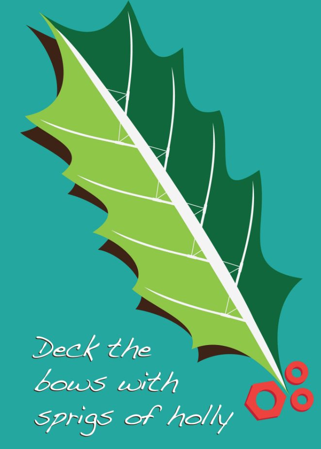 A clever design on one of the Christmas cards available from 'Rock the Boat'.