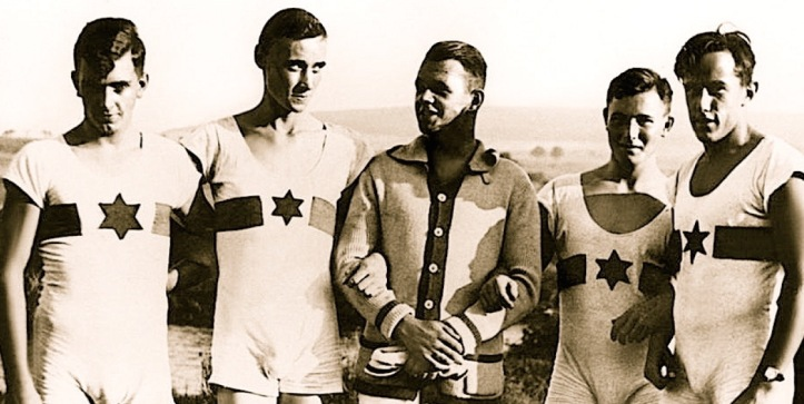 Young athletes from the Werder Jewish Rowing Club, near Potsdam, pictured in the 1930s. The Star of David that the oarsmen proudly display on their tops nowadays perhaps reminds us of the yellow star that the Nazis forced Jews to wear.
