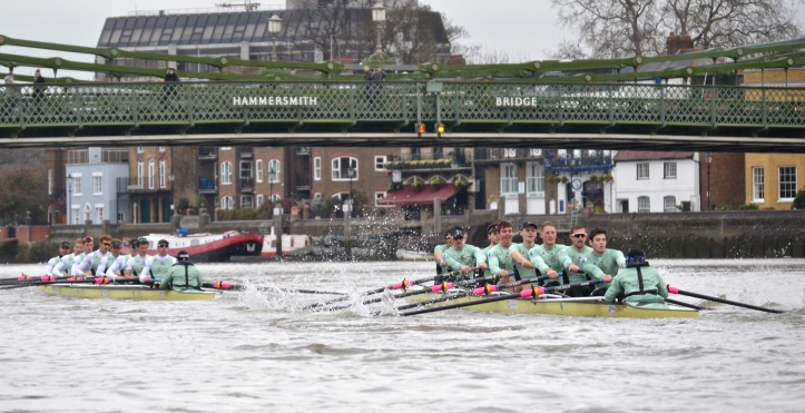 """One T"" leads under Hammersmith Bridge."