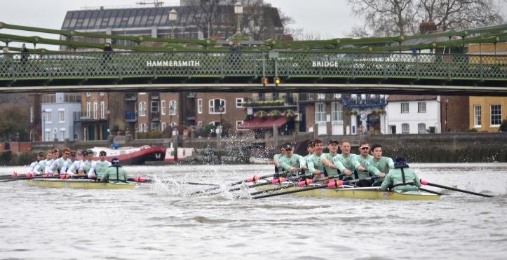 """""""One T"""" leads under Hammersmith Bridge."""