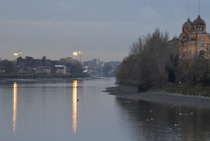 An early morning view of the first mile-and-a-half of the University Boat Race Course, looking from Hammersmith Bridge towards the start at Putney.