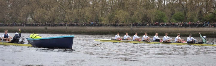 The above picture of the start of the 2014 Boat Race nicely demonstrates the problem of 'parallax error' which is inherent in picturing a side-by-side race from behind and from an angle, whereby the boat nearest the camera appears to be further up than was the actual case. Clearly, the two boats were started level – but Oxford appears to be a length up.