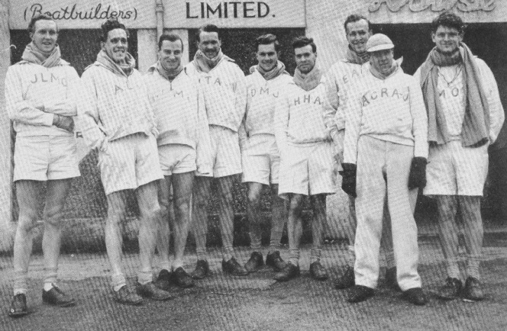 The Cambridge Blue Boat, 1950. Left to right: Crick, Macleod, Lloyd, Arthur, Jennens, Almond, Bircher, Armstrong-Jones, Massey. All but Jennens, Bircher and Armstrong-Jones were from Lady Margaret Boat Club (St John's College). Massey, Bircher and Lloyd were in the eight that won Olympic Silver in the London Games of 1948.