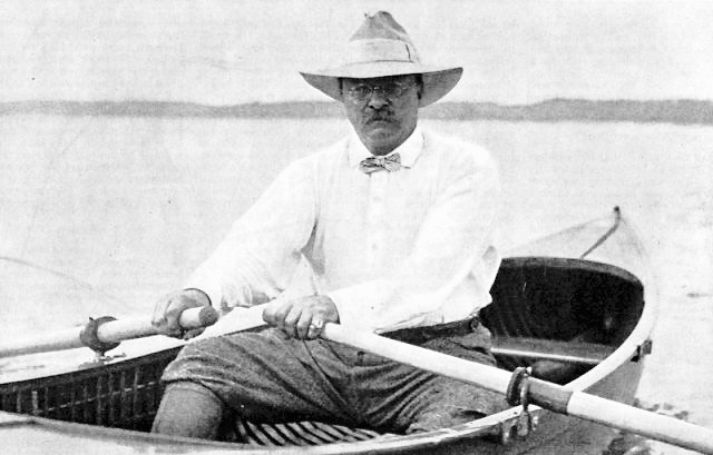 Roosevelt at the oars on Oyster Bay.