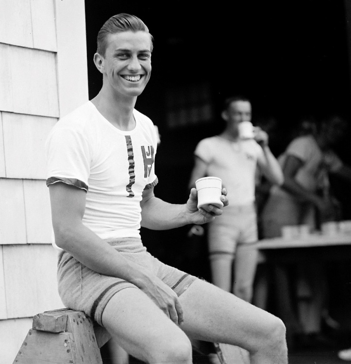 Franklin Delano Roosevelt, Jr., one of FDR's sons – Harvard Crew Captain (1938). It was said that 'He had his father's looks, his speaking voice, his smile, his charm, his charisma'.
