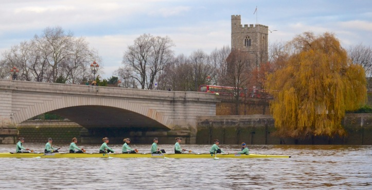 "Crew ""Needs"" at Putney Bridge. It was stroked by Imogen Grant and coxed by Evie Lindsay."