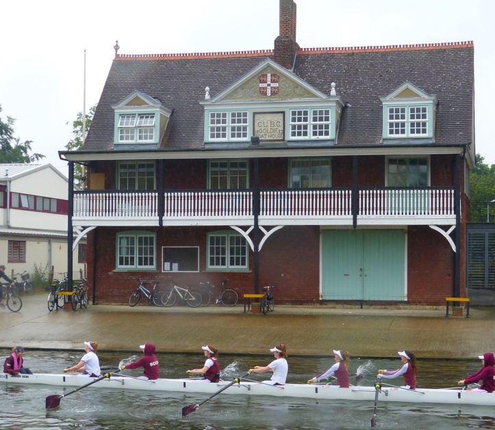 The Goldie Boathouse on the Cam at Cambridge. It was built in 1882 and is the oldest surviving intact boathouse on the river. These days, no boats are stored at 'the Goldie' but gymnasium work, tanking, ergometer and weight training takes place there. Spread over twelve sessions, about twenty hours a week is spent in training.