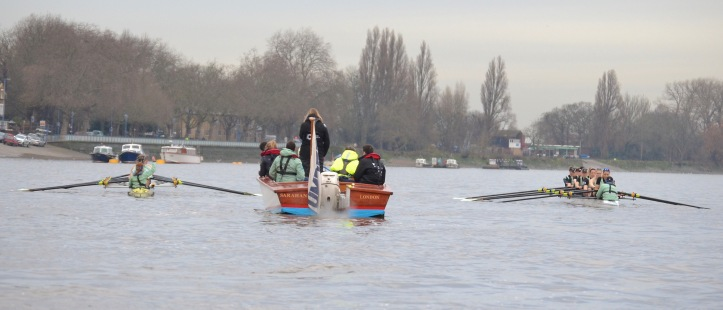 "The start. On the left (Surrey) in the yellow boat is ""Needs"". On the right (Middlesex) in the white boat is ""Hallam""."
