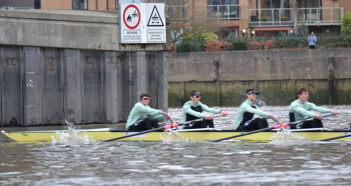 """Two Gs"" at Putney Rail Bridge on the way to the start. President Lance Tredell was absent due to injury. In theory, ""Two Gs"" perhaps looked the stronger crew with four Old Blues onboard."