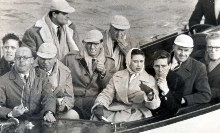 Princess Margaret with her then fiancé, Antony Armstrong-Jones, aboard the Cambridge launch during the 1960 Oxford–Cambridge Boat Race (Oxford won).