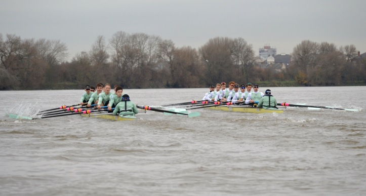 At Fulham. For those unfamiliar with the course, follow this link https://en.wikipedia.org/wiki/The_Boat_Race#/media/File:University_Boat_Race_Thames_map.svg for a map.