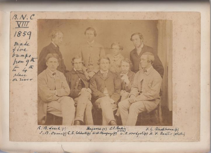 The 1859 Brasenose Eight. Woodgate is seated second from the right.