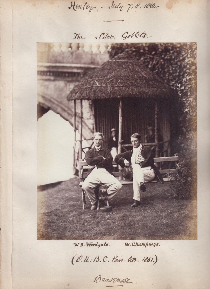 Woodgate and Champneys, winners of the Silver Goblets at Henley Royal Regatta in 1862. Photo and annotations taken from Robert Shepherd's photo album.
