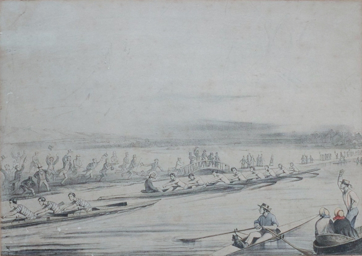 1851 lithograph by George Winter showing the Brasenose crew attempting to bump Balliol for the Head for the Head of the River in Eights. Brasenose got them the following year!