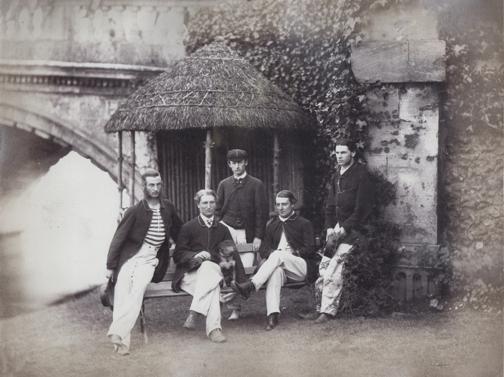1862 Henley winners, with original Childe of Hale blazers of black and gold. From left: W.C. Harris, W.B. Woodgate, E.G.R. Parr (cox), W. Champneys, R. Shepherd.