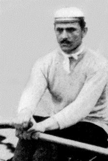 Berthold Küttner, pictured in 1895, after finishing second in the German single sculls championships. Photo: Rüsselsheimer Ruder-Klub.