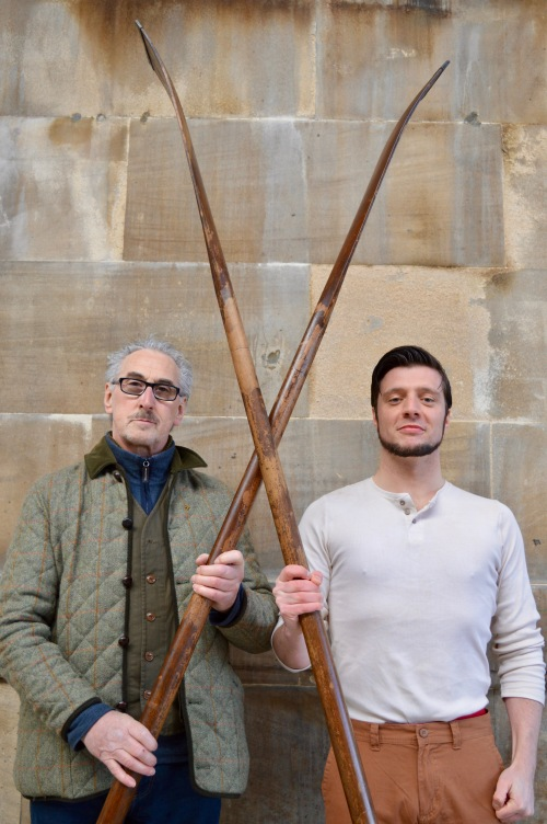 Jamie Brown (r), the award-winning actor, who plays Harry Clasper in Hadaway Harry is pictured with Bill Bell, holding the oars.
