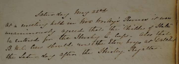 Excerpt from the 1839 Minute Book recording the entry of the Childe of Hale in the first Henley Regatta.