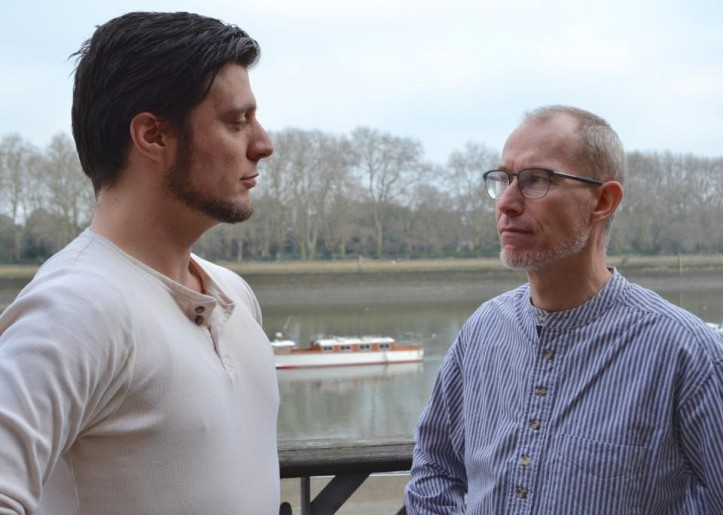 News just in … Harry Clasper (Jamie Brown) and The Ghost of Harry Clasper in aquatics stare off at London Rowing Club – Professional beats amateur … again! Photo: Tim Koch.