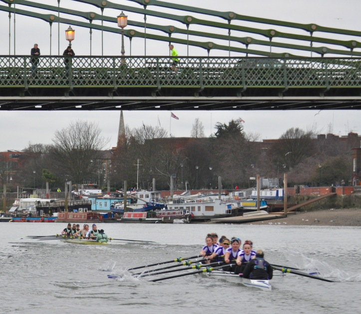 Cambridge extended their lead over the course and were over three lengths up by the finish after Hammersmith Bridge.