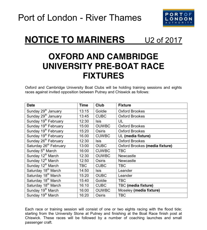 The Port of London Authority's handy list of Boat Race Fixtures for 2017.