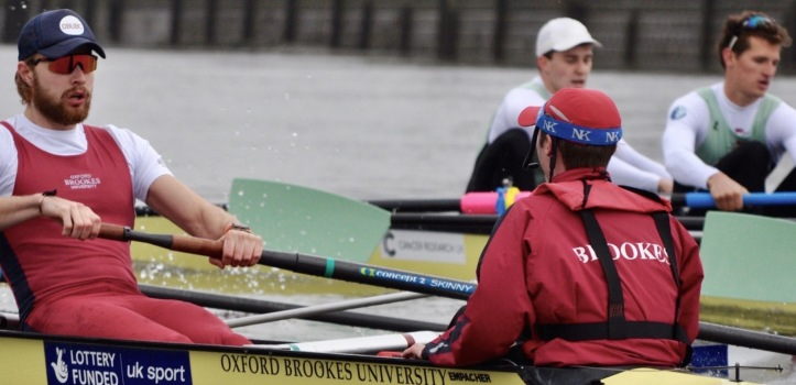 Oxford (Brookes) successfully battle Cambridge. Brookes will take on Oxford on 26 February and, naturally, the result of that race could be very telling. Picture: brookerowing.org