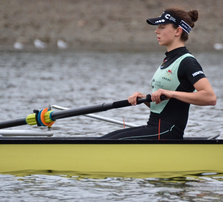 Imogen Grant, '4' in the CUWBC boat, perhaps 'visualises' before the start of their fixture against Oxford Brookes.