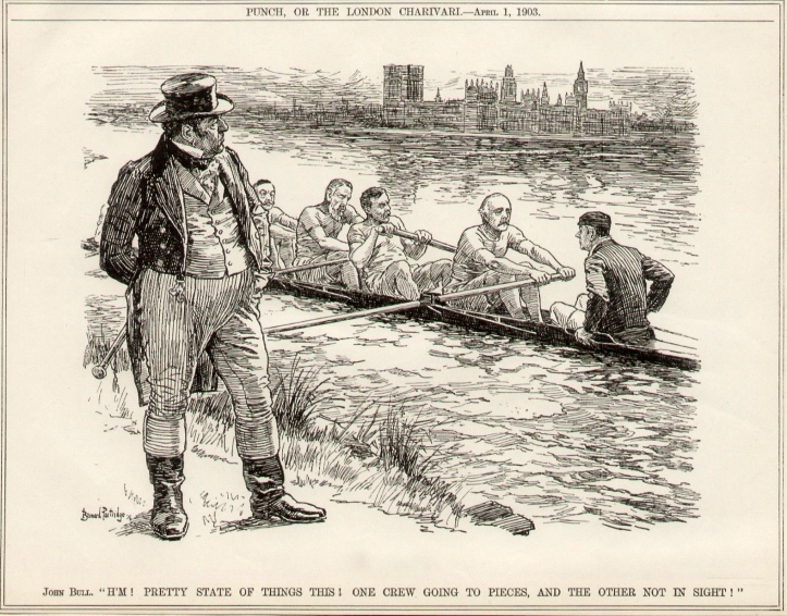 'Punch' magazine's view of a boatful of politicians in 1903. Prime Minister, Arthur Balfour, is the stroke, 7 is William St John Fremantle Brodrick, Secretary of State for War, 6 is the Duke of Devonshire, Leader of the House of Lords, 5 is Aretas Akers-Douglas, Home Secretary, and the cox is the Earl of Halsbury, Lord Chancellor. The cartoon alludes to the fact that the Conservative Government of the time was split on free trade – a subject that never really goes out of fashion.