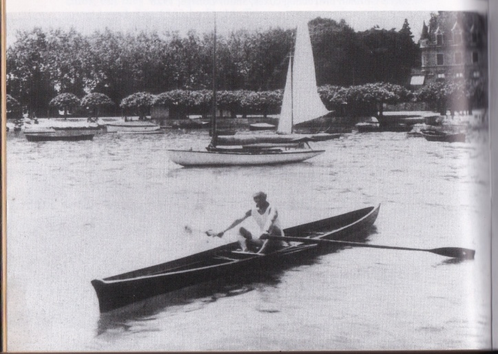 Pierre de Coubertin, founder of the modern Olympic Games, at the oars on Lake Geneva, Switzerland.