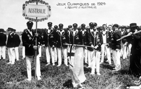 Postcard showing the Australian Olympic team just before the opening ceremony on 4 May 1924.