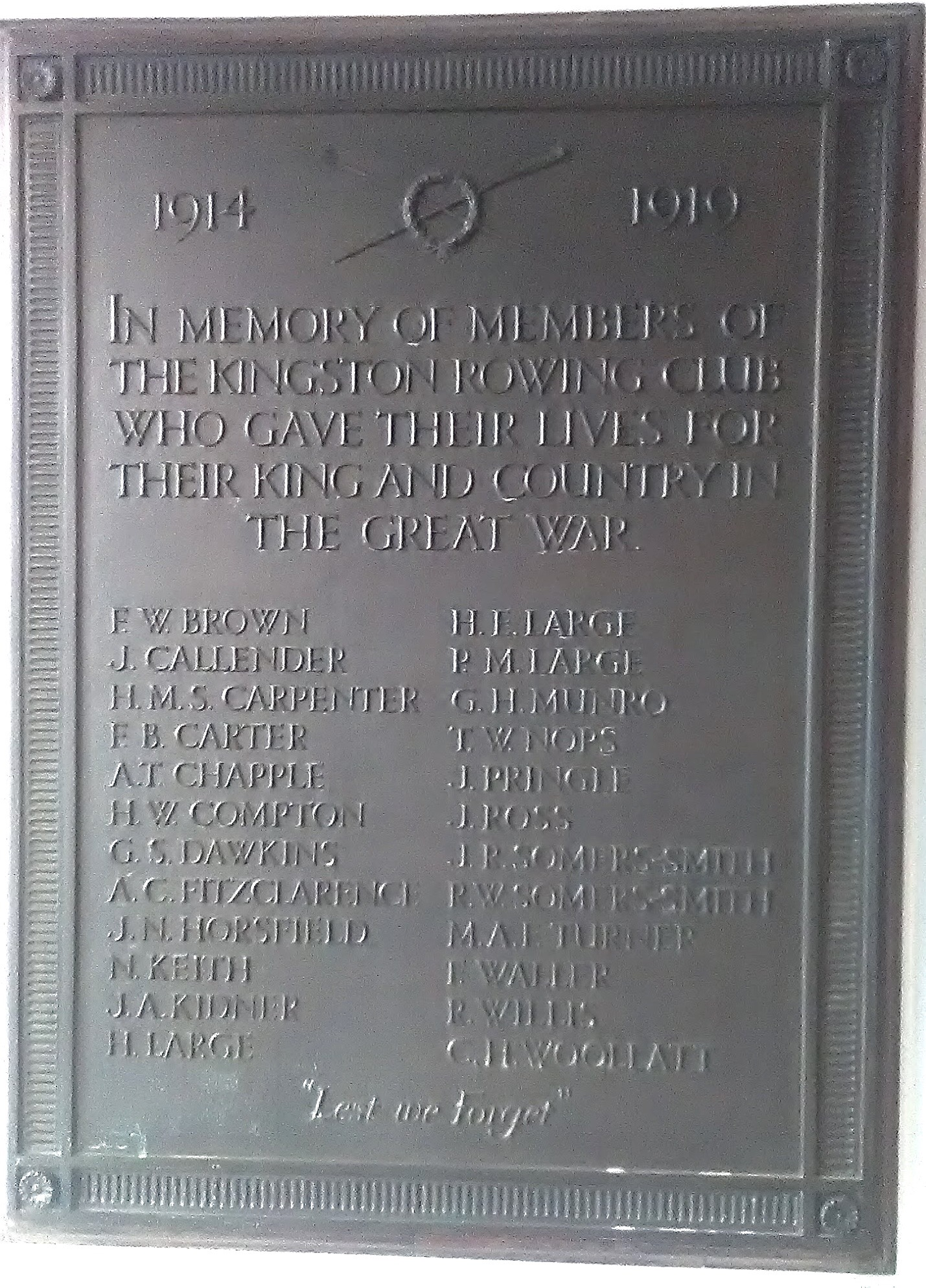 Rolls Of Honour Further Images Of Rowing Club War Memorials Hear The Boat Sing